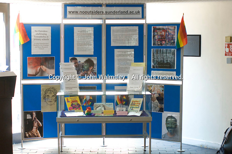 Display by the No Outsiders project, Sunderland University, at the Sex & Relationships Education Conference at the Institute of Education, London.