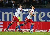 26.11.2017, Football 1. Bundesliga 2017/2018, 13. Match Day, Hamburger SV - TSG 1899 Hoffenheim, im Volksparkstadion Hamburg.  Jubel  Goutoku Sakai (Hamburg) und Torschuetze Filip Kostic (Hamburg) celebrates scoring to 2:0 *** Local Caption *** © pixathlon +++ tel. +49 - (040) - 22 63 02 60 - mail: info@pixathlon.de<br /> <br /> +++ NED + SUI out !!! +++