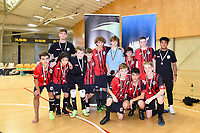 Selwyn College pose after winning second place in the Futsal NZ Secondary Schools Junior Boys Final between Hamilton Boys High School and Selwyn College at ASB Sports Centre, Wellington on 26 March 2021.<br /> Copyright photo: Masanori Udagawa /  www.photosport.nz