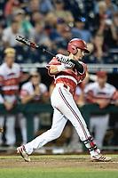 Louisville Cardinals outfielder Drew Campbell (1) drives in the winning run during the ninth inning of Game 10 of the NCAA College World Series against the Mississippi State Bulldogs on June 20, 2019 at TD Ameritrade Park in Omaha, Nebraska. Louisville defeated Mississippi State 4-3. (Andrew Woolley/Four Seam Images)