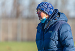 LITCHFIELD, CT-111820JS05—Shepaug field hockey head  coach Mandy Tuthill calls out instructions to her players as that yake on Wamogo Wednesday at Wamogo High School. <br />  Jim Shannon Republican-American