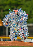 8 July 2015: The Bobble Water Filter Man Mascot prepares to throw out the first pitch prior to a game between the Vermont Lake Monsters and the Mahoning Valley Scrappers at Centennial Field in Burlington, Vermont. The Lake Monsters defeated the Scrappers 9-4 to open the home game series of NY Penn League action. Mandatory Credit: Ed Wolfstein Photo *** RAW Image File Available ****