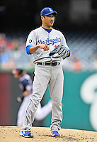 5 September 2011: Los Angeles Dodgers pitcher Hiroki Kuroda stands on the mound after serving up a solo home run to Jayson Werth of the Washington Nationals at Nationals Park in Los Angeles, District of Columbia. The Nationals defeated the Dodgers 7-2 in the first game of their 4-game series. Mandatory Credit: Ed Wolfstein Photo