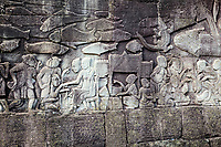 Cambodia, Bayon Temple, late 12th-13th. Century.  Bas-relief scene showing everyday life.