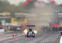 Aug 31, 2019; Clermont, IN, USA; NHRA top fuel driver Cameron Ferre during qualifying for the US Nationals at Lucas Oil Raceway. Mandatory Credit: Mark J. Rebilas-USA TODAY Sports