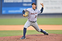 Bowling Green Hot Rods pitcher Jacob Lopez (33) delivers a pitch during a game against the Asheville Tourists on May 29, 2021 at McCormick Field in Asheville, NC. (Tony Farlow/Four Seam Images)