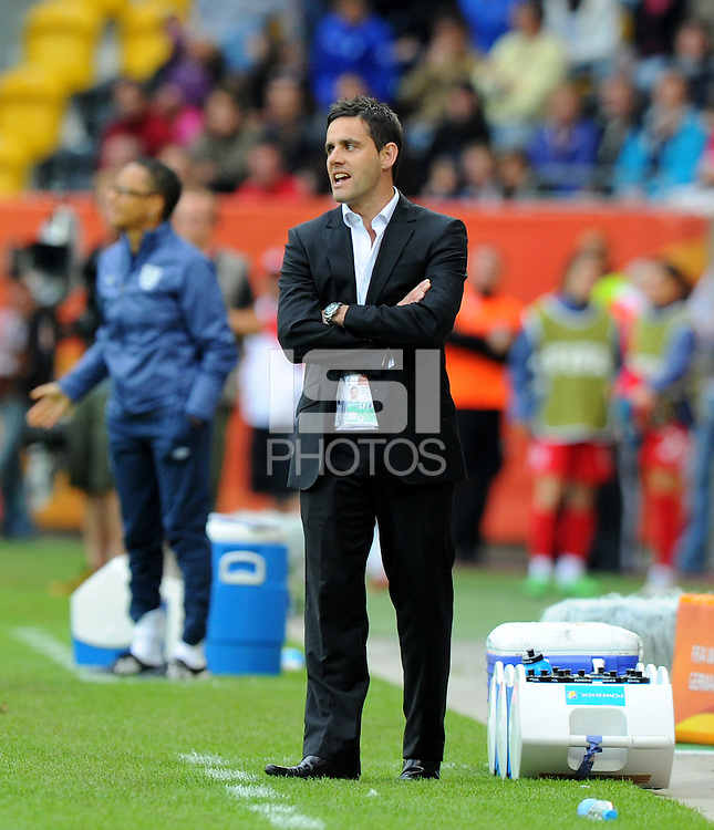 Coach John Herdman of team New Zealand during the FIFA Women's World Cup at the FIFA Stadium in Dresden, Germany on July 1st, 2011.