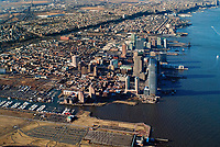 aerial photograph of Jersey City, New Jersey and the Hudson River, Hoboken in the background