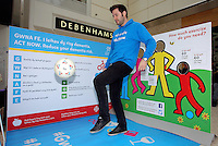 Pictured: Ian Robson takes the keepy uppy challenge Saturday 18 Saturday<br />Re: Welsh Government Dementia Risk Prevention Roadshow at the Quadrant Shopping Centre in Swansea, Wales, UK.