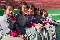 Paro, Bhutan.  Young Teenage Bhutanese Schoolgirls.