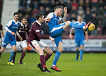Hearts v St Johnstone…03.02.18…  Tynecastle…  SPFL<br />Denny Johnstone and John Souttar<br />Picture by Graeme Hart. <br />Copyright Perthshire Picture Agency<br />Tel: 01738 623350  Mobile: 07990 594431