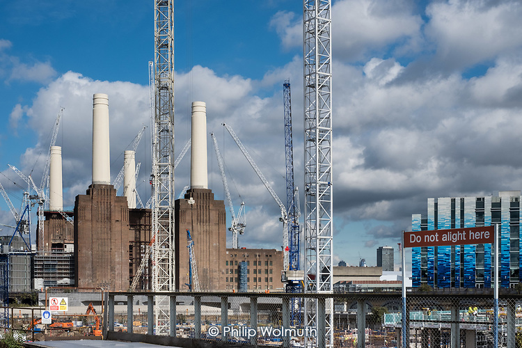 Construction of apartment blocks on the former Battersea Power Station site, part of the 480 acre Nine Elms Regeneration Zone, London. Many of the flats have been bought off-plan by overseas buyers.