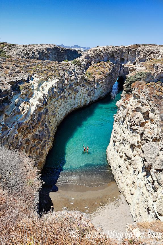 The strange beach Papafragas in Milos, Greece