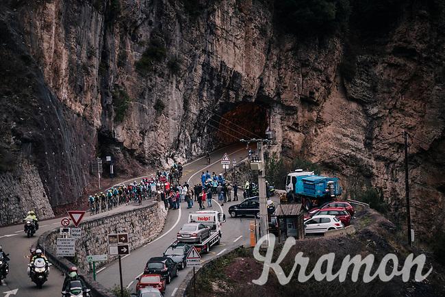 peloton emerging from a tunnel<br /> <br /> 76th Paris-Nice 2018<br /> Stage 7: Nice > Valdeblore La Colmiane (175km)