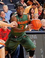 CHARLOTTESVILLE, VA- JANUARY 7: Malcolm Grant #3 of the Miami Hurricanes handles the ball during the game against the Virginia Cavaliers on January 7, 2012 at the John Paul Jones Arena in Charlottesville, Virginia. Virginia defeated Miami 52-51. (Photo by Andrew Shurtleff/Getty Images) *** Local Caption *** Malcolm Grant