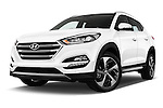 Stock pictures of low aggressive front three quarter view of 2015 Hyundai Tucson Launch Edition 5 Door Suv Low Aggressive