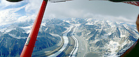 Flying above the Ruth Glacier near Mount McKinley   Denali in Alaska. Talkeetna Alaska United States Ruth Glacier.