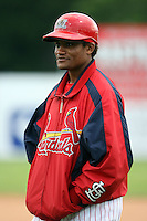 August 3rd 2008:  Catcher Luis DeLaCruz of the Batavia Muckdogs, Class-A affiliate of the St. Louis Cardinals, during a game at Dwyer Stadium in Batavia, NY.  Photo by:  Mike Janes/Four Seam Images