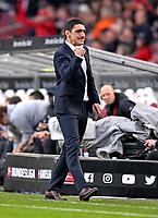 11.03.2018,  Football 1.Liga 2017/2018, 26. match day,  VfB Stuttgart - RB Leipzig, in Mercedes-Benz-Arena Stuttgart. Trainer Tayfun Korkut (Stuttgart) macht eine celebrationfaust   dem Schlusspfiff, er ist and dem 0:0 hochzufrieden. *** Local Caption *** © pixathlon