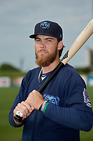 Mobile BayBears Brandon Marsh (9) poses for a photo before a Southern League game against the Jacksonville Jumbo Shrimp on May 8, 2019 at Hank Aaron Stadium in Mobile, Alabama.  (Mike Janes/Four Seam Images)