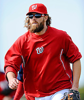 25 February 2012: Washington Nationals' outfielder Jayson Werth trots back to the infield during the first full squad Spring Training workout at the Carl Barger Baseball Complex in Viera, Florida. Mandatory Credit: Ed Wolfstein Photo