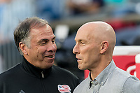 FOXBOROUGH, MA - AUGUST 3: Bruce Arena of New England Revolution and Bob Bradley of Los Angeles FC during a game between Los Angeles FC and New England Revolution at Gillette Stadium on August 3, 2019 in Foxborough, Massachusetts.