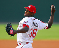 15 Aug 2007:  Jimmy James of the Greenville Drive, Class A affiliate of the Boston Red Sox, in a game against the Lakewood Blueclaws, a Philadelphia Phillies affiliate, at West End Field in Greenville, S.C. Photo by:  Tom Priddy/Four Seam Images