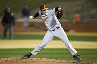 Illinois Fighting Illini relief pitcher Garrett Acton (26) in action against the Wake Forest Demon Deacons at David F. Couch Ballpark on February 16, 2019 in  Winston-Salem, North Carolina.  The Fighting Illini defeated the Demon Deacons 5-2. (Brian Westerholt/Four Seam Images)