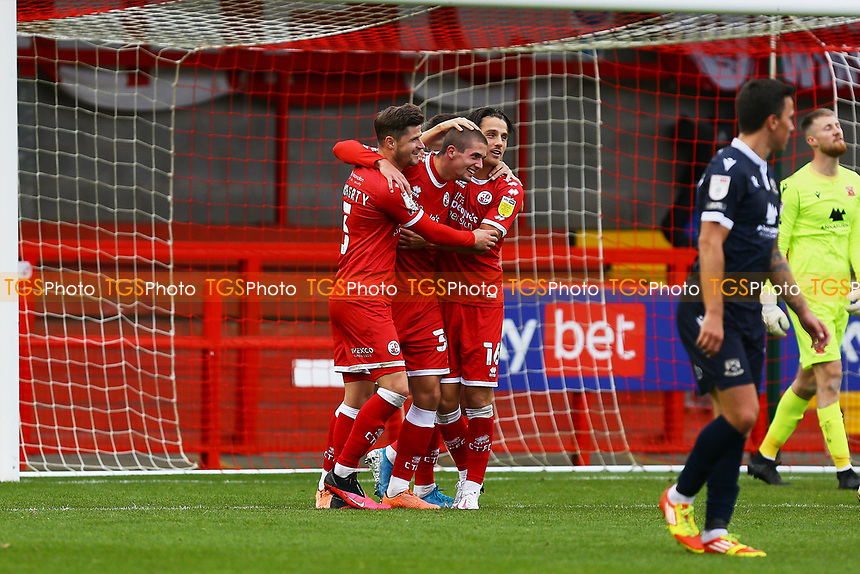 Max Watters (Centre) of Crawley Town scores the second goal for his team and celebrates during Crawley Town vs Morecambe, Sky Bet EFL League 2 Football at Broadfield Stadium on 17th October 2020