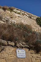 Isola di Pianosa. Pianosa Island. .Le targhe stradali dedicate ai morti ammazzati dalla mafia..The street signs dedicated to the dead killed by the Mafia..Via Giovanni Falcone e Paolo Borsellino...