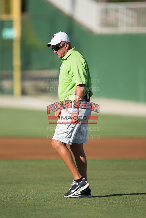 Kannapolis Intimidators head grounds keeper Billy Ball inspects the field prior to the South Atlantic League game between the Augusta GreenJackets and the Kannapolis Intimidators at Intimidators Stadium on May 30, 2016 in Kannapolis, North Carolina.  The GreenJackets defeated the Intimidators 5-3.  (Brian Westerholt/Four Seam Images)