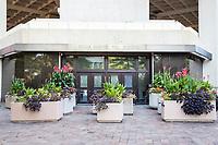 Security Flower Bollards Guard Entrance to Federal Bureau of Investigation, FBI, J Edgar Hoover Building, Washington DC, USA.