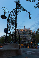 Ornamental lamp near Casa Mila, Barcelona, Spain