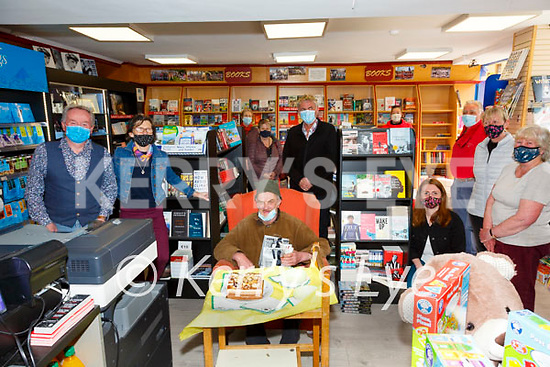 Donie Sheehan (seated) from Cahersiveen was surprised with a Birthday Cake for his 65th birthday on Friday at Quirkes Newsagents, pictured l-r; Colman Quirke, Trish Walsh, Josephine Keating, Bridie O'Shea, Karl O'Connell, Diana Nolan, Deirdre Garvey, Martin Maguire, Bríd O'Connell & Roslyn Prendergast.