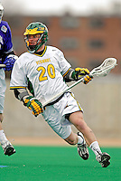 10 April 2007: University of Vermont Catamounts' Trevor Wagar, a Junior from Guelph, Ontario, in action against the Holy Cross Crusaders at Moulton Winder Field, in Burlington, Vermont. The Crusaders rallied to defeat the Catamounts 5-4...Mandatory Photo Credit: Ed Wolfstein Photo