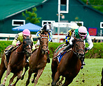 August 28, 2021: Viadera (GB) # 3, ridden by jockey Joel Rosario enters the stretch of the Grade 2 Ballston Spa Stakes on the turf at Saratoga Race Course in Saratoga Springs, N.Y. on August 28th, 2021. Dan Heary/Eclipse Sportswire/CSM