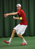 Rotterdam, The Netherlands, 15.03.2014. NOJK 14 and 18 years ,National Indoor Juniors Championships of 2014, Guus Koevermans (NED)<br /> Photo:Tennisimages/Henk Koster