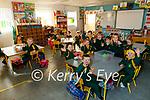 Enjoying their first day back at school in Máiréad Ní Chatháin Ní Chonchúir junior infants class in the Gaelscoil Lois Tuathail on Monday