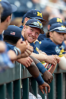 Michigan Wolverines outfielder Miles Lewis (3) before Game 6 of the NCAA College World Series against the Florida State Seminoles on June 17, 2019 at TD Ameritrade Park in Omaha, Nebraska. Michigan defeated Florida State 2-0. (Andrew Woolley/Four Seam Images)
