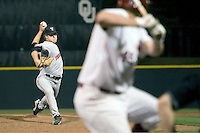 Texas Tech pitcher Scott Erzinger delivers against the Oklahoma Sooners on Friday April 1st, 2011 at Dale Mitchell Park in Norman, Oklahoma.  (Photo by Andrew Woolley / Four Seam Images)