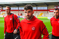 Fleetwood Town's forward Ched Evans (9) arriving with Alex Cairns and Dean Marney arriving for the Sky Bet League 1 match between Fleetwood Town and Accrington Stanley at Highbury Stadium, Fleetwood, England on 15 September 2018. Photo by Stephen Buckley / PRiME Media Images.