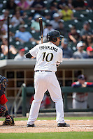 Travis Ishikawa (10) of the Charlotte Knights at bat against the Gwinnett Braves at BB&T BallPark on May 22, 2016 in Charlotte, North Carolina.  The Knights defeated the Braves 9-8 in 11 innings.  (Brian Westerholt/Four Seam Images)