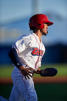 Orem Owlz Jeremiah Jackson (23) rounds third base during a Pioneer League game against the Idaho Falls Chukars at The Home of the OWLZ on August 13, 2019 in Orem, Utah. Orem defeated Idaho Falls 3-1. (Zachary Lucy/Four Seam Images)
