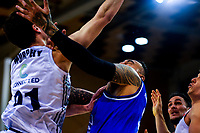Leon Henry marks Huskies' Sean Murphy during the National Basketball League Final Four semifinal match between Wellington Saints and Auckland Huskies at Te Rauparaha Arena in Porirua, New Zealand on Thursday, 22 July 2021. Photo: Dave Lintott / lintottphoto.co.nz