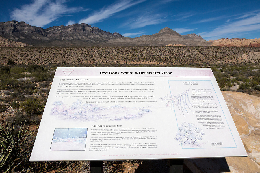 Red Rock Canyon, Nevada.  Environmental Education Sign, Red Rock Wash, an Arroyo, a Dry Creek Bed or Gully.  The Gray Limestone  Keystone Thrust is in background, La Madre Mountain on left, Turtlehead Peak on right.
