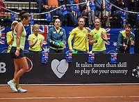 April 18, 2015, Netherlands, Den Bosch, Maaspoort, Fedcup Netherlands-Australia,   Casey Dellacqua (AUS) is being supported by het team<br /> Photo: Tennisimages/Henk Koster