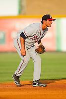 Danville Braves shortstop Jose Peraza (4) on defense against the Burlington Royals at Burlington Athletic Park on July 19, 2012 in Burlington, North Carolina.  The Royals defeated the Braves 4-3.  (Brian Westerholt/Four Seam Images)