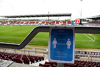 10th October 2020; Sixfields Stadium, Northampton, East Midlands, England; English Football League One, Northampton Town versus Peterborough United; Sign informing people to adhere to the 2 metre guidelines.