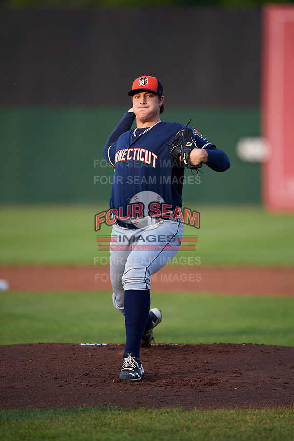 Connecticut Tigers starting pitcher Brad Bass (39) delivers a warmup pitch during a game against the Auburn Doubledays on August 9, 2017 at Falcon Park in Auburn, New York.  Connecticut defeated Auburn 6-4.  (Mike Janes/Four Seam Images)