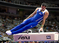 Danell Leyva of Hilton HHonors competes on Pommel horse during the 2012 US Olympic Trials competition at HP Pavilion in San Jose, California on June 28th, 2012.